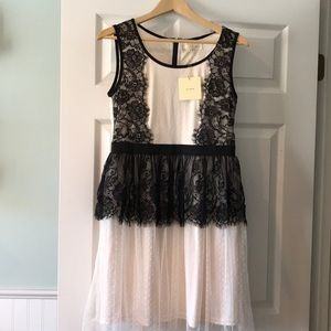 a'reve Black Lace and Cream Swiss Dot Dress